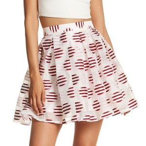 White Pleated Polka Dot Skirt